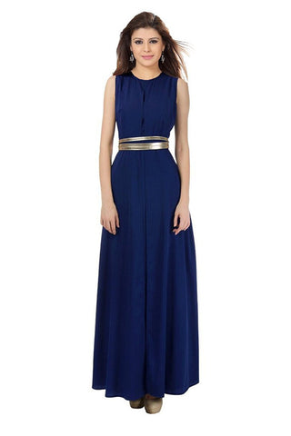 Designer Partywear Navy Blue Georgette Sleeveless Evening Wear Maxi Dress For Women