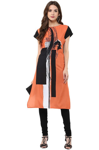 Latest Women's Orange Casual Crepe Kurti