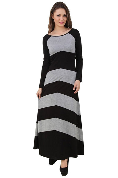 Latest Long Grey And Black Chevron Style Maxi Dress For Women