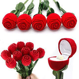 Designer Silver Pleated Ring With Velvet Red Rose Ring Box