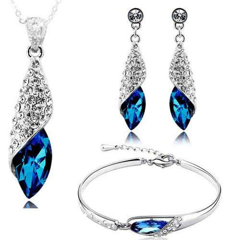 Crystal Jewellery Combo Of Necklace Set With Earrings And Bracelet For Girls