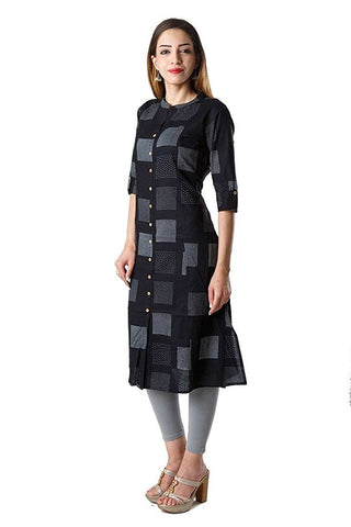 black-color-cotton-straight-kurtis-with-printed-work-a016