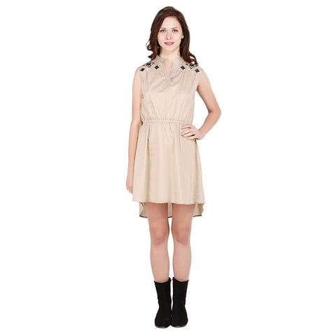 Latest Beige Embroidered Woman Dress