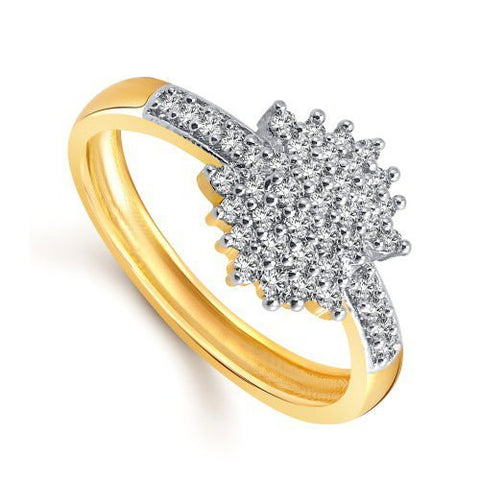 Designer 24k Fancy Flower Party Wear Ring Traditional Gold Ring For Girls & Women In American Diamond Cubic Zirconia Ring