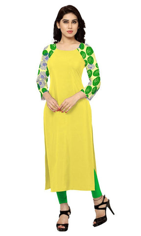 Yellow Colour Straight Long Kurti And kurtas Faux Crepe Digital Printed Kurtis