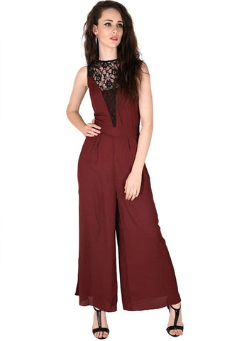 Maroon Color Sleeveless Palazzo Jumpsuit With Lace Neck
