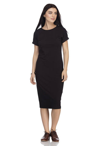 Latest Black Color Casual Wear Cotton Midi dress