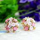 Designer Jewellery Gold Plated Flower Shape Resin Fancy Party Wear Earrings For Women And Girls