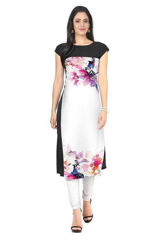 White And Black Crepe Long Ladies Kurtis With Digital Printed Work