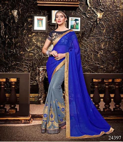 Latest Georgette Designer Sarees Blue & Gray Colored Patch Embroidery Work Saree