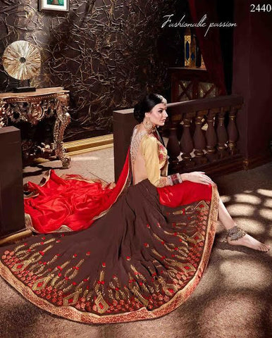 Latest Designer Georgette Sarees Brown & Red Colored Heavy Embroidery Work Saree