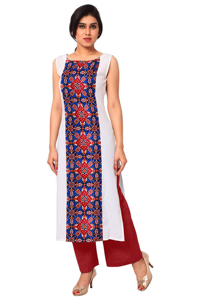 White Printed Crepe Kurti And Kurtas Sleeveless Straight Long Kurtis For Women
