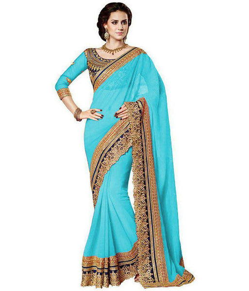 Latest Trendy Fashionable Blue Saree For Women