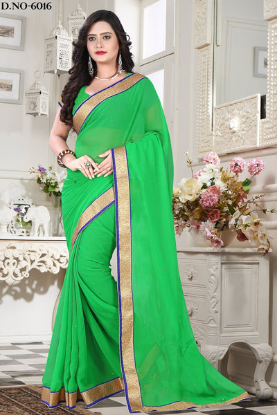 Urban-Naari-21740-Green-Chiffon-Lace-Border-&-Stone-Work-Saree