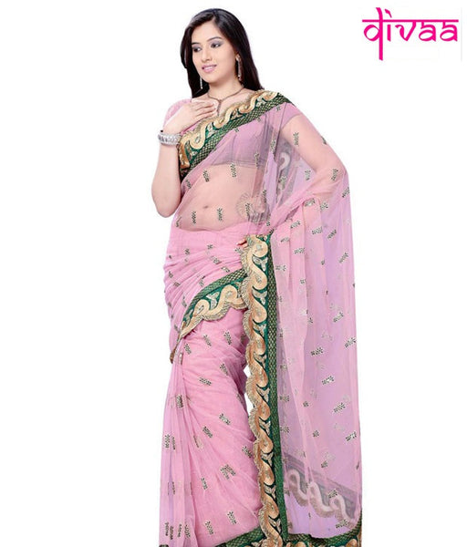Pink Color Net Saree Designed With Resham Butti & Border Work Designer Net Sarees