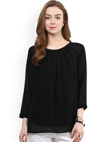 Black Solid Color Georgette Top For Women Round Neck With 3/4 Sleeve Women Tops
