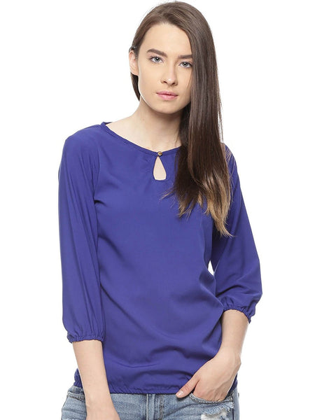 Royal Blue Top Plain Polycrepe Casual Tops Ladyindia86