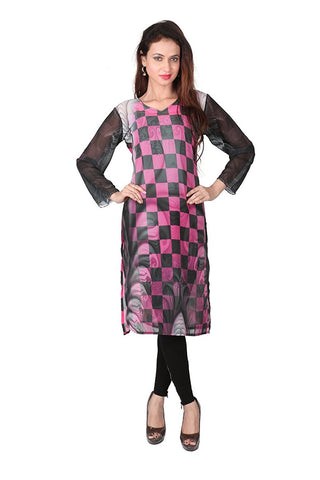 Multi Coloured Printed Long Kurtis Georgette Straight Kurtis With Digital Printed Work
