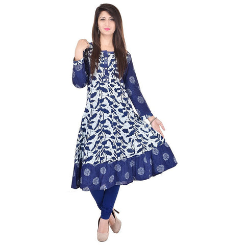 blue-&-white-color-leaf-print-cotton-anarkali-kurtis-for-girl-a023