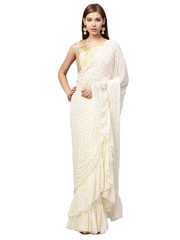 White Chiffon Saree With Blouse Piece Designer Ruffle Saree