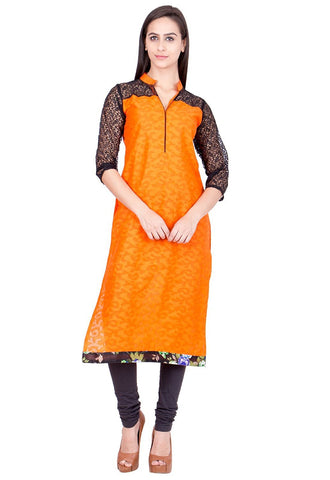 Printed Cotton Kurtis Yellow & Black Long Cotton kurtis With Brasso Print  For Women
