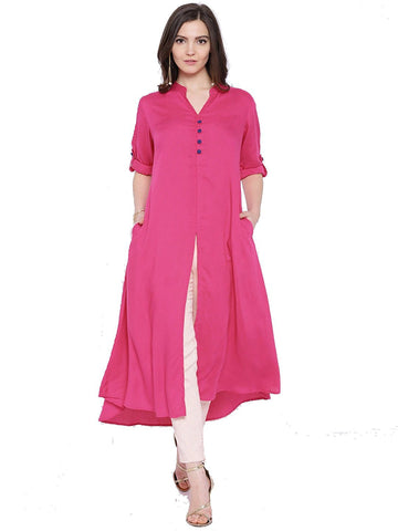 pink-color-plain-rayon-long-kurti-with-blue-toggle-work-a070