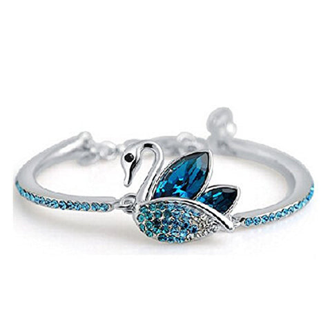 Designer True Love Swan Crystal Bangle Bracelet For Girls And Women