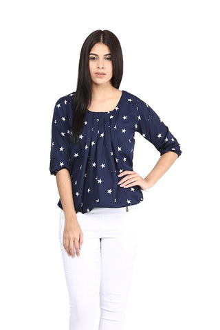 Casual Tops Navy Blue Color Polyster Top With Star Print Ladyindia66