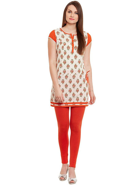 Printed Short Kurtis Orange Color Cotton Kurtis For Women K34