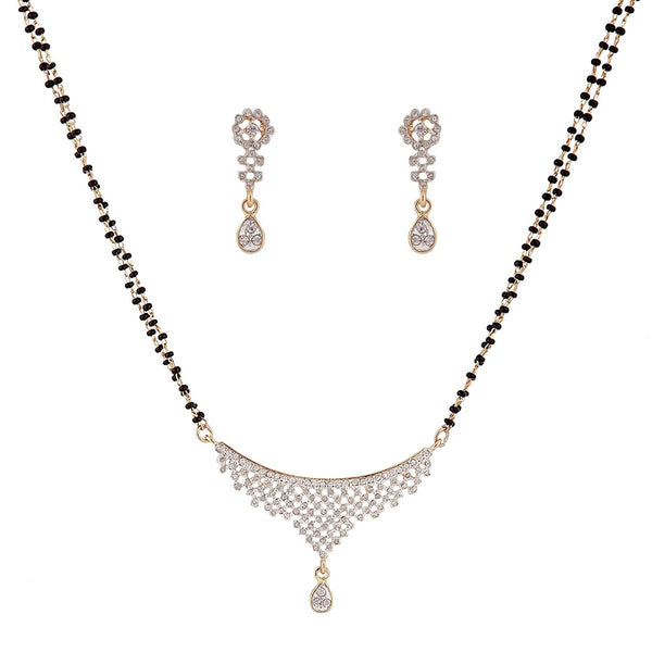London Thread Cz Crystal Diamonds With Gold & Rhodium Plated Mangalsutra With Earrings
