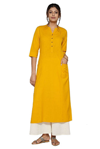 yellow-color-plain-long-cotton-kurta-for-women-a092