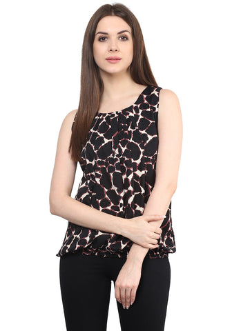 Brown Animal Print Sleeveless Crepe Round Neck Casual Top