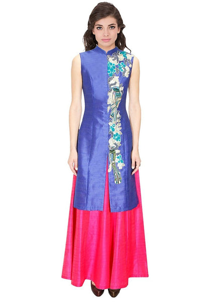 Designer Pink And Blue Color Long Kurtas With Skirts Banglori Satin Jacket Style Long Kurti