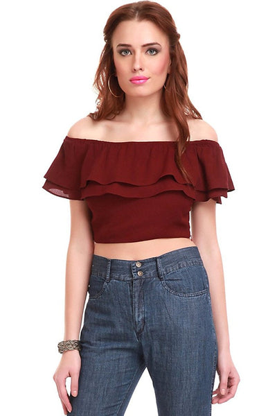 Maroon Color Crop Tops For Women With Frill Ladyindia56