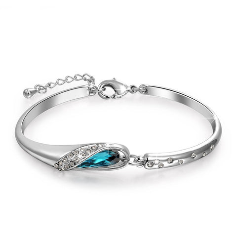 Platinum Plated Blue Kangan Crystal Kadaa Bracelet For Girls