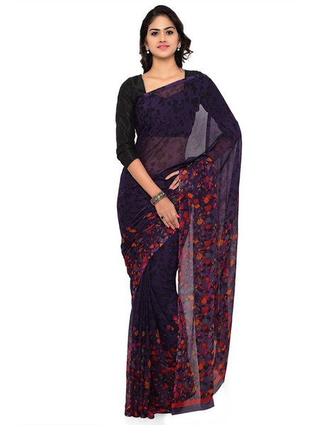 Casual Wear Purple Color Printed Georgette Sarees S092