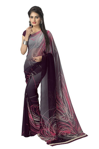 Faux Georgette Printed Saree Black - Designer Casual Sarees