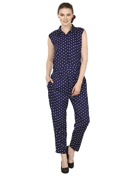 Navy Blue Sleeveless Printed Jumpsuits With Polka Dot Print Jumpsuit