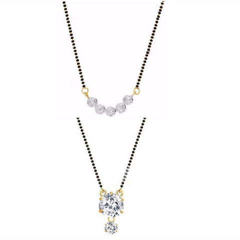 Designer Jewwllery Combo Of Gold & Rhodium Plated American Diamond Mangalsutra Pendant With Chain For Women