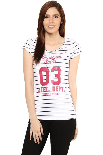 White Color Printed T-Shirt For Girls Ladyindia7