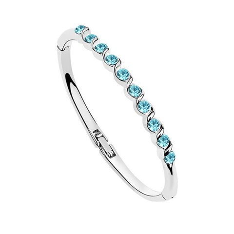 Designer Rhodium Plated Fashionable Crystal Bangle Bracelet With Two Color Options For Women & Girls