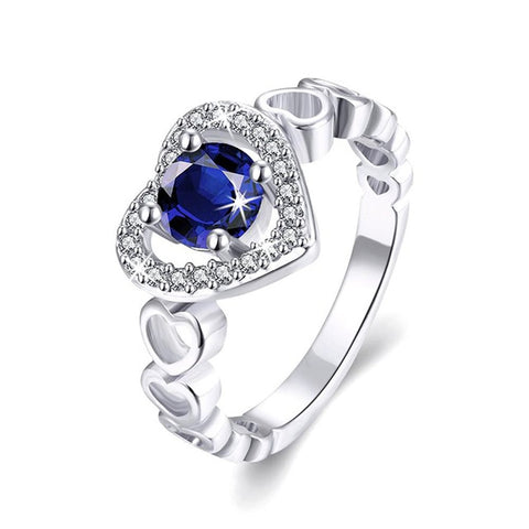 Designer Platinum Plated Top Quality Swiss Zirconia Crystal Crazy Heart Ring For Women And Girls