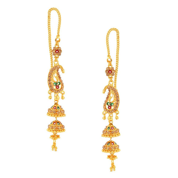 Designer Mutlicolor Meenakari Gold Plated Jhumki Earrings For Women