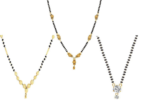 Gold Plated Combo Of 3 Mangalsutra Pendant With Chain For Women