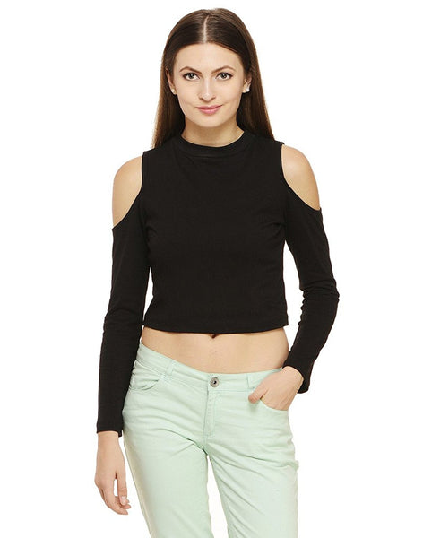 Black Crop Top For Women Cold Shoulder Tops Ladyindia58