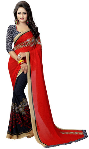 fs-21-indian-festival-saree-party-wear-red-&-navy-blue-designer-georgette-sarees-for-women