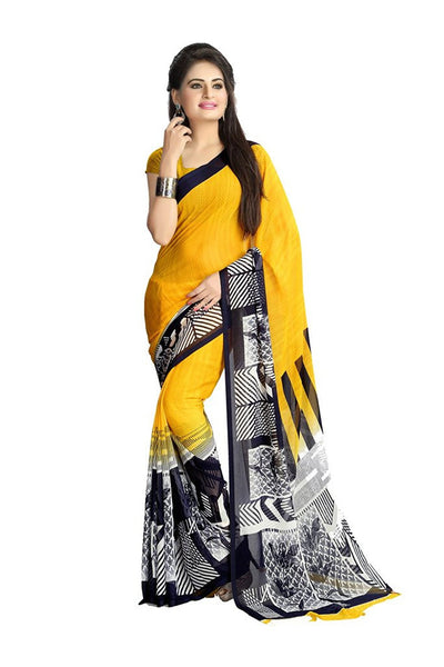 Yellow Color Saree Black & White Broad Border Print Chiffon Sarees S084