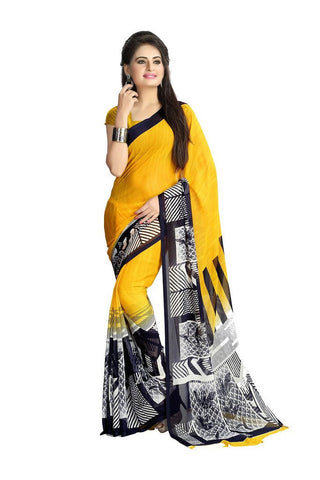 Chiffon Printed Saree Yellow - Designer Casual Sarees