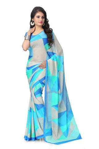 Latest Fancy Women's Chiffon Saree With Blouse Piece