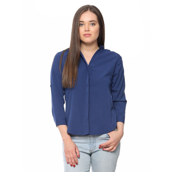 Denim Blue Polycrepe Plain Shirts For WomenLadyindia87